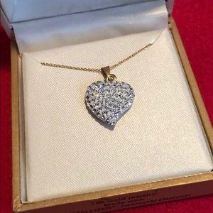 14k gold and Swarovski crystal heart necklace